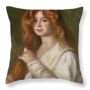 Girl Combing Her Hair Throw Pillow by Pierre Auguste Renoir