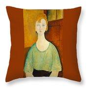 Girl In A Green Blouse Throw Pillow