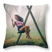 Girl In Swing Throw Pillow