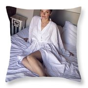 girl in the Bathrobe lying Throw Pillow