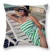 Girl Lies On A Chaise Longue In A Green Striped Dress Throw Pillow