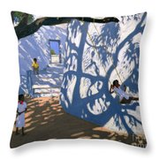 Girl On A Swing India Throw Pillow by Andrew Macara