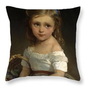 Girl With Basket Of Plums Throw Pillow