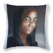 Girl With Braids Throw Pillow