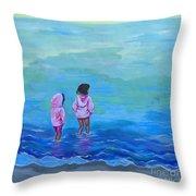 Girls In Pink Throw Pillow
