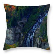 Glacier Waterfall Throw Pillow