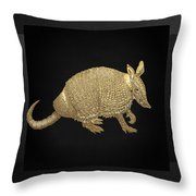 Gold Armadillo On Black Canvas Throw Pillow by Serge Averbukh