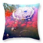 Gold Fish Pond Throw Pillow