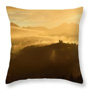 Golden Clouds And Fog At Sunrise In The Mountains Of Kamnik Savi Throw Pillow
