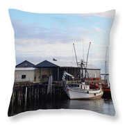 Golden Dolphin Eel Fishing Boat Port Angeles Washington Throw Pillow