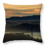 Golden Gate Bridge And San Francisco Bay At Sunset Throw Pillow