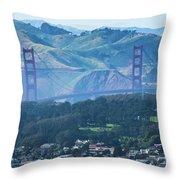 Golden Gate Bridge View From Twin Peaks San Francisco Throw Pillow