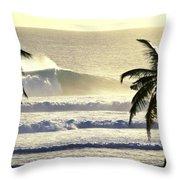 Golden Palms Throw Pillow by Sean Davey