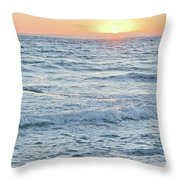 Golden Sunset And Ocean Horizon Throw Pillow