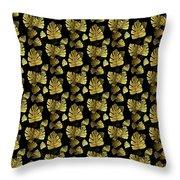 Golden Tropics Pattern Throw Pillow