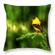 Goldfinch On Grass Throw Pillow