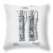 Golf Caddy Bag Patent 1905 Throw Pillow