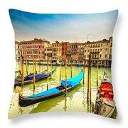 Gondolas In Venice - Italy  Throw Pillow