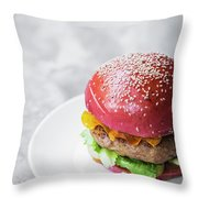 Gourmet Novelty Chicken Burger In Beetroot Bun Throw Pillow