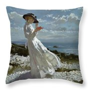 Grace Reading At Howth Bay Throw Pillow by Sir William Orpen
