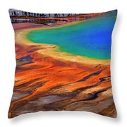 Grand Prismatic Spring Yellowstone National Park Tourists Viewin Throw Pillow