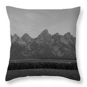 Grand Teton Mountain Range At Sunrise Panorama Throw Pillow