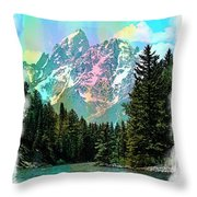 Grand Tetons From The Snake River Throw Pillow