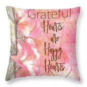 Grateful Hearts Throw Pillow