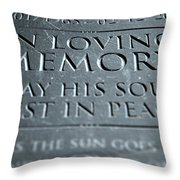 Gravestone In Loving Memory Throw Pillow