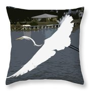 Great Egret At Melbourne Beach Throw Pillow