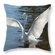 Great Egret Wings Throw Pillow