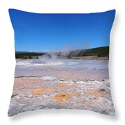 Great Fountain Geyser In Yellowstone National Park Throw Pillow