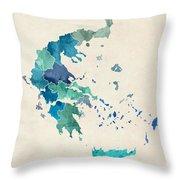 Greece Watercolor Map Throw Pillow