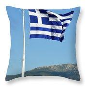 Greek Flag In Acropolis Of Athens Throw Pillow