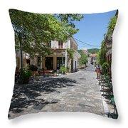Greek Village Plaza Throw Pillow