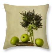 Green Apples And Blue Thistles Throw Pillow by Priska Wettstein