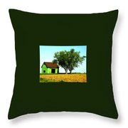 Green Barn  Throw Pillow