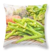 Green Bean Throw Pillow