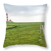 Green Fields And Romantic Lighthouse Throw Pillow