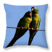 Green Parrot Throw Pillow