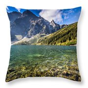 Green Water Mountain Lake Morskie Oko, Tatra Mountains, Poland Throw Pillow