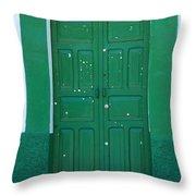 Green Wood Door Throw Pillow