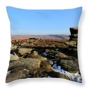 Gritstone Rocks On Hathersage Moor, Derbyshire County Throw Pillow
