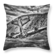 Grounded Plane Wreck Throw Pillow