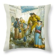 Group Near The Great Wall Of China Throw Pillow