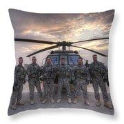 Group Photo Of Uh-60 Black Hawk Pilots Throw Pillow