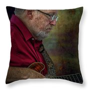 Guitar Picker In The Park On Sunday Throw Pillow