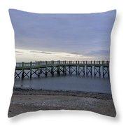 Gulf Beach Pier Throw Pillow