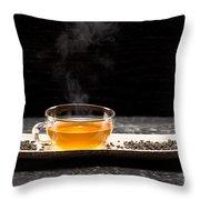 Gunpowder Green Tea In Glass Teapot Throw Pillow