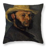 Gustave Boyer B 1840 In A Straw Hat Throw Pillow